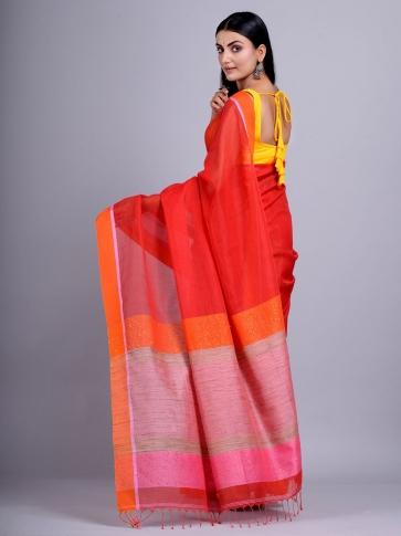 Red Silk Cotton handwoven saree with gicha in pallu 0
