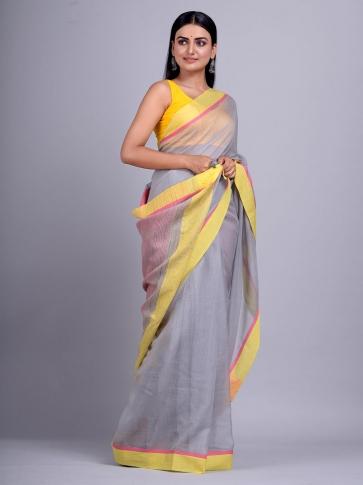 Grey Silk Cotton handwoven saree with gicha in pallu