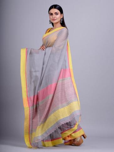 Grey Silk Cotton handwoven saree with gicha in pallu 2