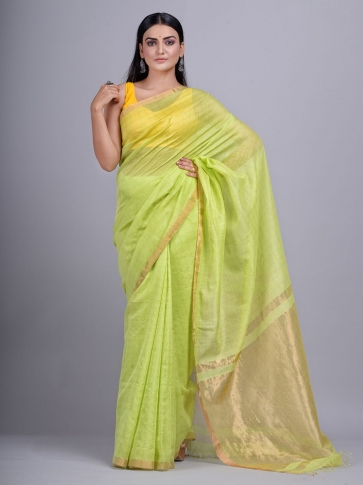 Lime Green Silk Cotton handwoven saree with tested zari
