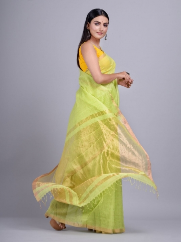 Lime Green Silk Cotton handwoven saree with tested zari 0