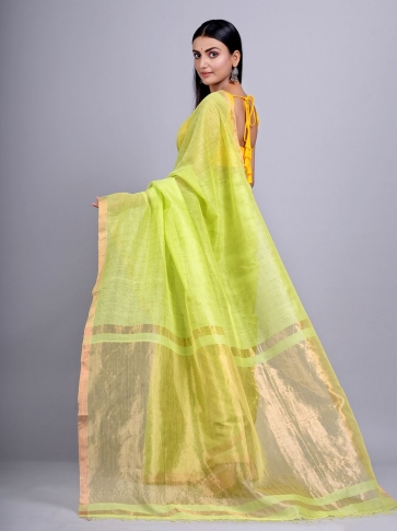 Lime Green Silk Cotton handwoven saree with tested zari 2