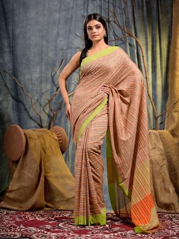 Beige Cotton gicha handwoven saree