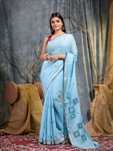 Sky Blue handwoven pure linen saree