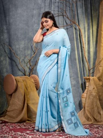 Sky Blue handwoven pure linen saree 1