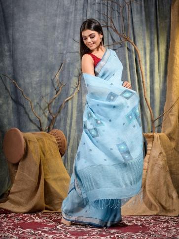 Sky Blue handwoven pure linen saree 2