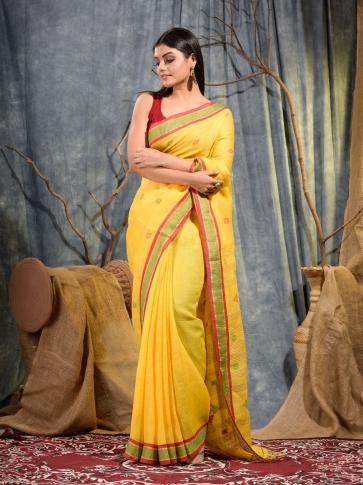 Yellow handwoven pure linen saree
