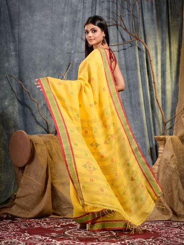 Yellow handwoven pure linen saree 1