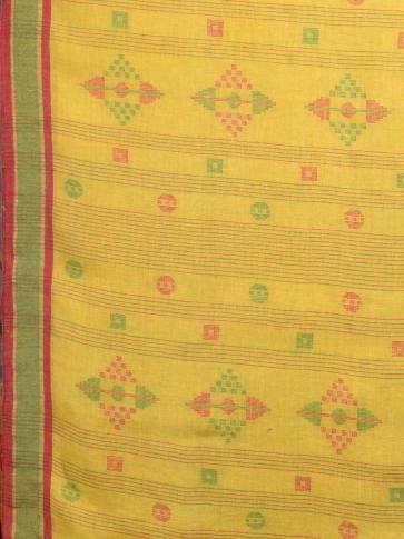 Yellow handwoven pure linen saree 2