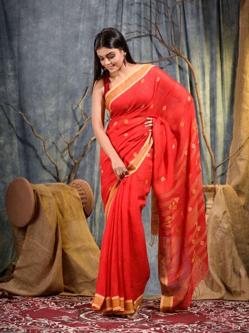 Red handwoven pure linen saree