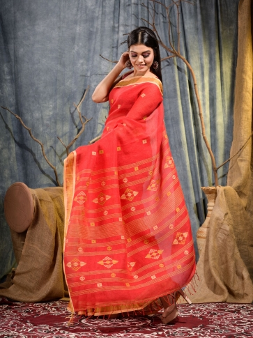Red handwoven pure linen saree 1
