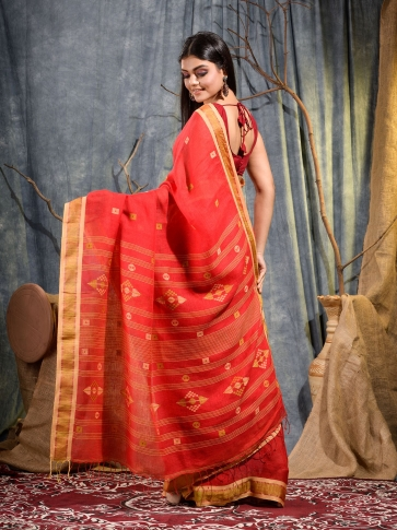 Red handwoven pure linen saree 2