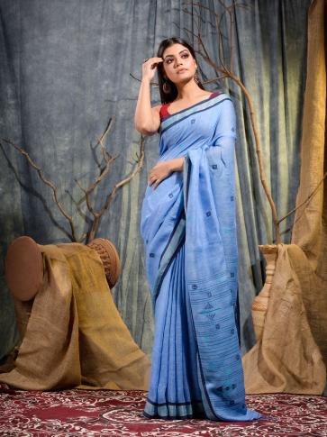 Blue handwoven pure linen saree
