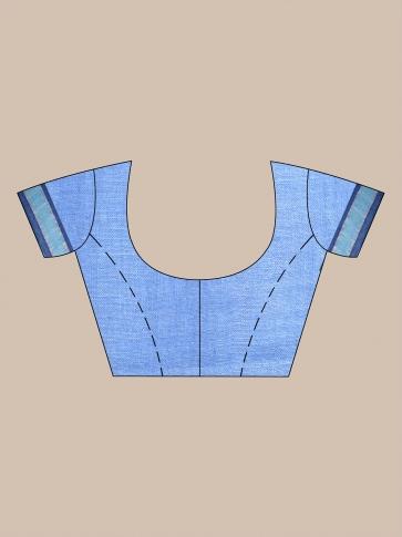 Blue handwoven pure linen saree 0