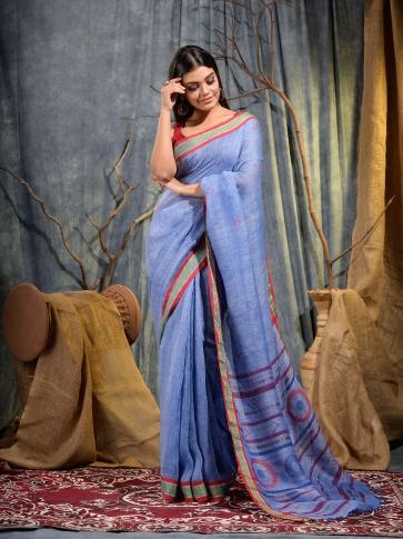 Blue soft handwoven Linen saree