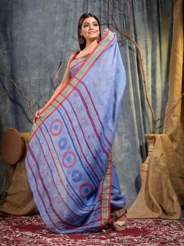 Blue soft handwoven Linen saree 2