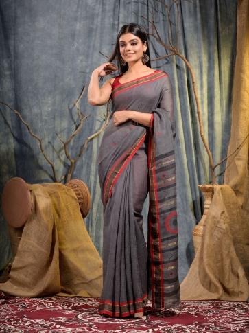 Grey handwoven pure linen saree 2