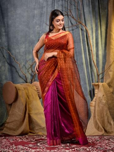 Pink and Red half half Silk Matka handwoven saree with sequine
