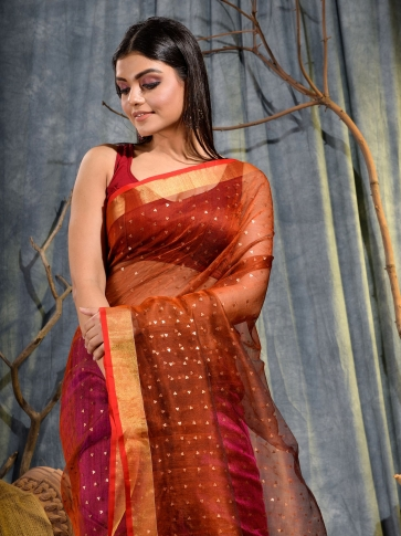 Pink and Red half half Silk Matka handwoven saree with sequine 2