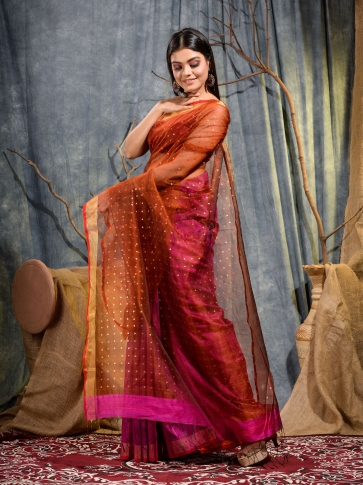 Pink and Red half half Silk Matka handwoven saree with sequine 1