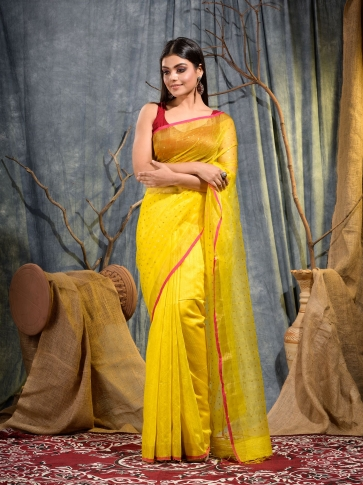 Yellow Silk Matka handwoven saree with sequine
