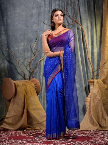Blue Silk Matka handwoven saree with sequine