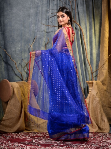 Blue Silk Matka handwoven saree with sequine 2