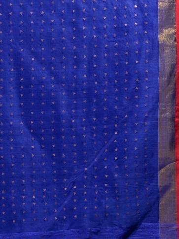 Blue Silk Matka handwoven saree with sequine 1