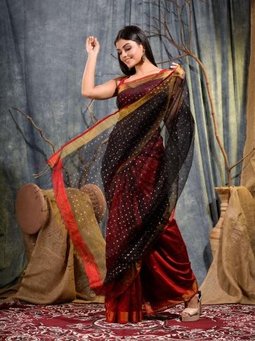 Red and Black half half Silk Matka handwoven saree with sequine 2