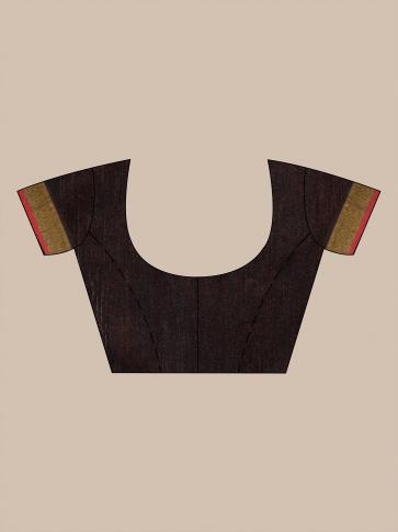Red and Black half half Silk Matka handwoven saree with sequine 0