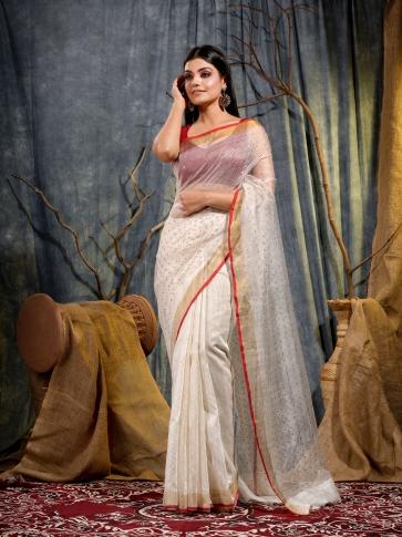 White Silk Matka handwoven saree with sequine