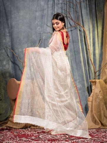 White Silk Matka handwoven saree with sequine 2