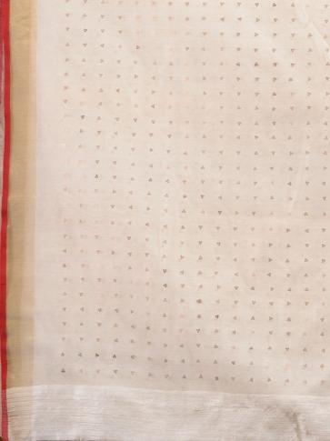 White Silk Matka handwoven saree with sequine 1