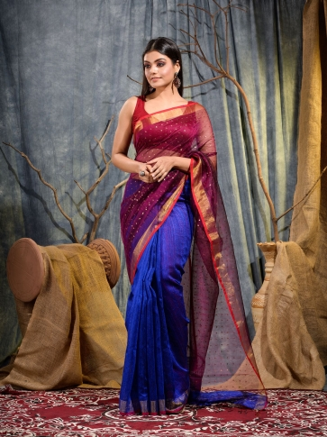 Blue and Magenta half half Silk Matka handwoven saree with sequine