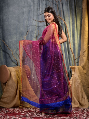 Blue and Magenta half half Silk Matka handwoven saree with sequine 2