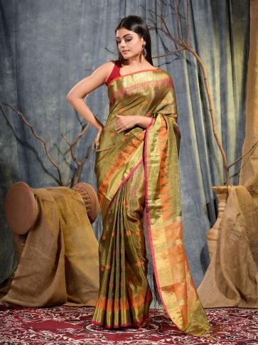 Golden Tissue Linen handwoven saree