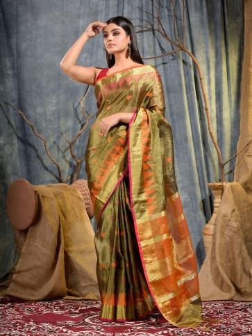 Golden Tissue Linen handwoven saree 1