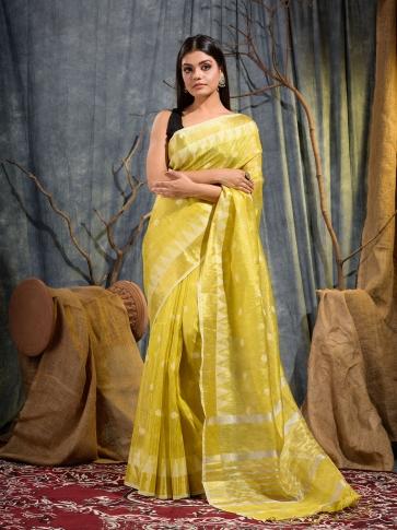Yellow Tissue Linen handwoven saree