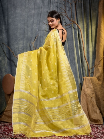Yellow Tissue Linen handwoven saree 2