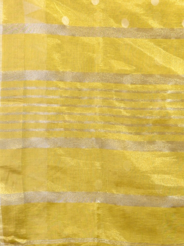 Yellow Tissue Linen handwoven saree 1