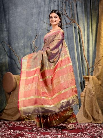 Brown Tissue Linen handwoven saree 1