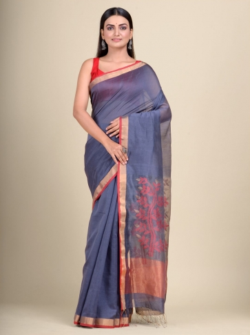Pink Silk Cotton hand woven saree with floral weaving in pallu