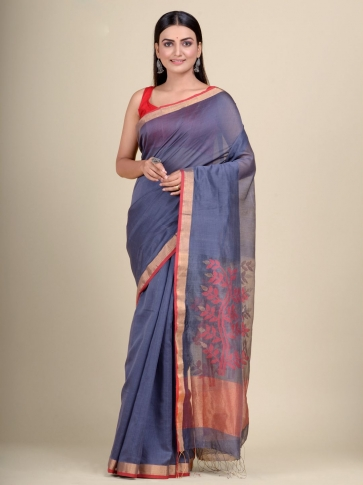 Pink Silk Cotton hand woven saree with floral weaving in pallu 1
