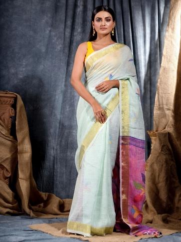 Sky Blue handwoven Linen saree