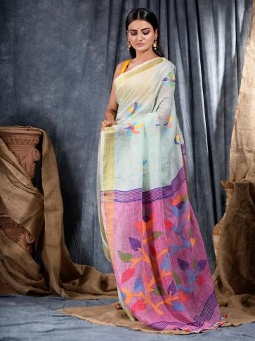 Sky Blue handwoven Linen saree 2