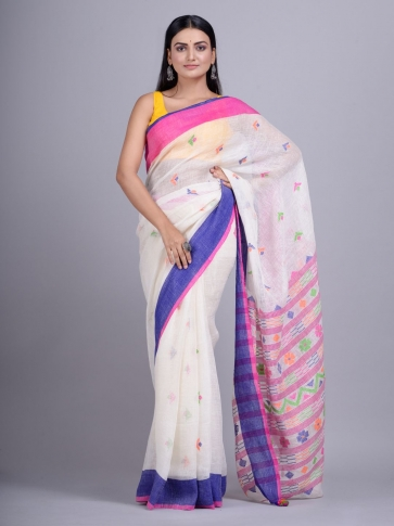 Off White handwoven Linen saree with duel border