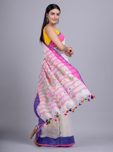 Off White handwoven Linen saree with duel border 0