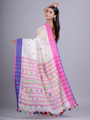 Off White handwoven Linen saree with duel border 2