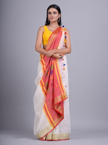 Off White handwoven Linen saree with sequin work