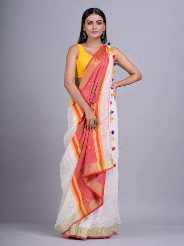 Off White handwoven Linen saree with sequin work 0